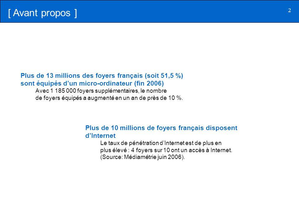 [ Avant propos ] Plus de 13 millions des foyers français (soit 51,5 %) sont équipés d'un micro-ordinateur (fin 2006)